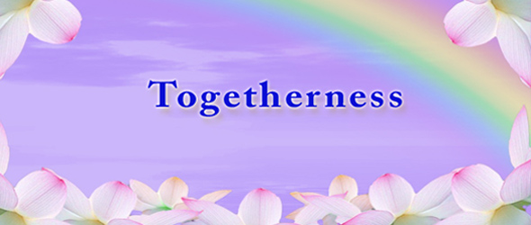 Togetherness text on Petal boarder with rainbow